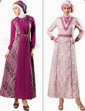 Model Baju Muslim Gamis Batik Kombinasi Supplier